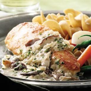 Chicken Breasts with Mushroom Cream Sauce Recipe   Easy chicken dinner alert! This creamy chicken recipe is a favorite.