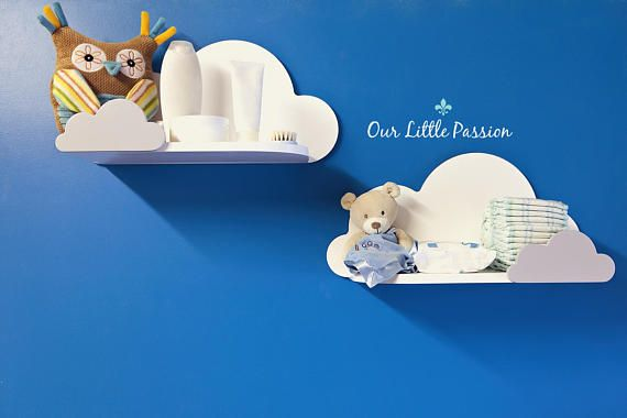 Set of two Cloud Shelf with small Sheves For Baby Nursery
