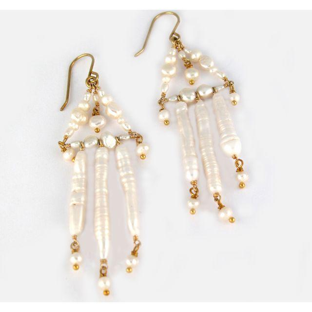 Pearl Chandelier Earrings    Pearl Chandelier Earrings with Freshwater Pearls and gold filled findings      $155