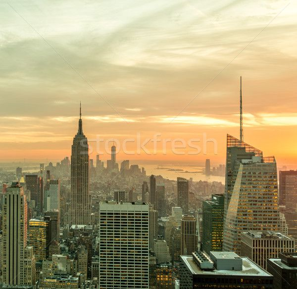 View of New York Manhattan during sunset hours stock photo (c) Elnur (#8712444) | Stockfresh