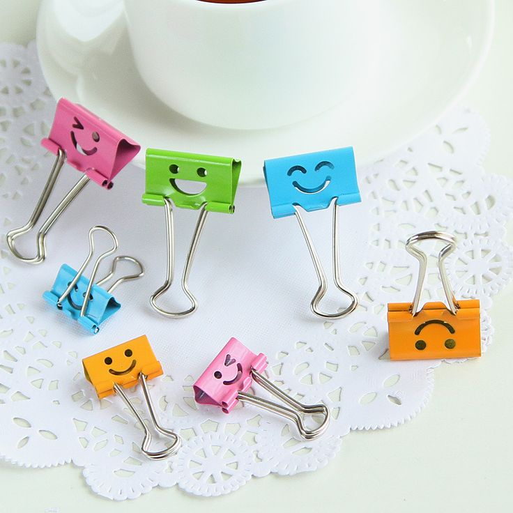 40 pcs/lot 19mm Cute Kawaii Small Colorful Face Design Clips Purse Dovetail Paper Clip Metal Binder School Office Supplies 02619