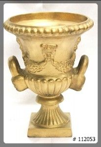 Planter 17 inch tall gold, 13 inch top