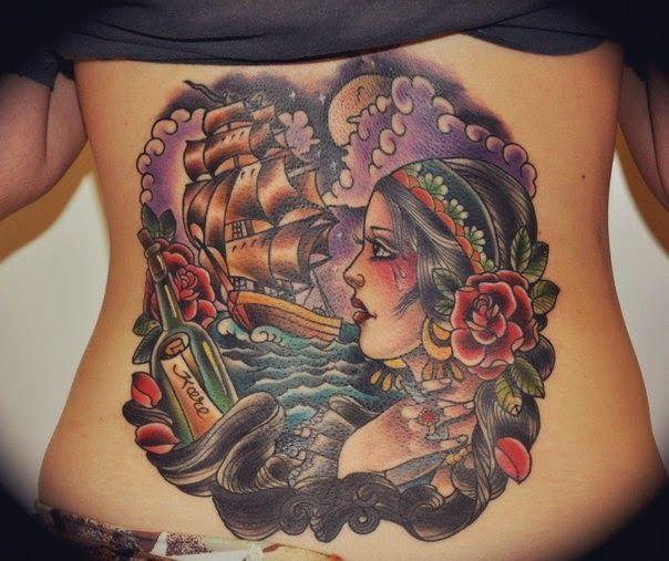 Красивые татуировки на пояснице - Beautiful tattoo on the lower back