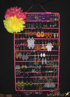 Brilliant Painted Oven Rack Earring Organizer Jewelry And Trinkets By Tattfae I Love The Plastic Canvas At Top For Stud Earrings