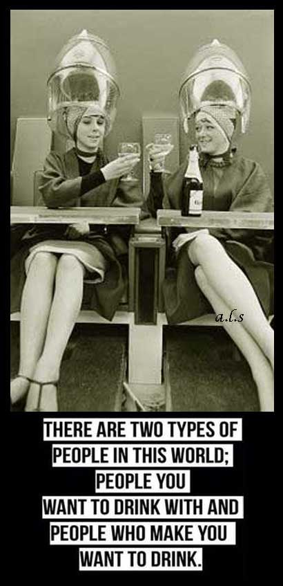 There are 2 types of people in this world-people you want to drink with, and people who make you want to drink. ~ retro funny ~ posted by a.l.s