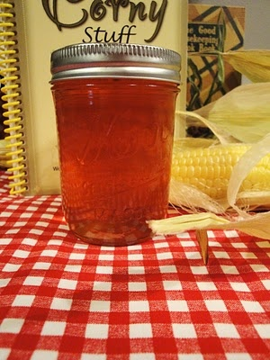 Corn Cob Jelly! Don't knock it till you try it.  If you use yellow corn, you'll wind up with an amber jelly rather than the pink-ish color of this one.