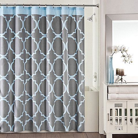 Studio 3BTM Jay Fret Shower Curtain In Grey Blue