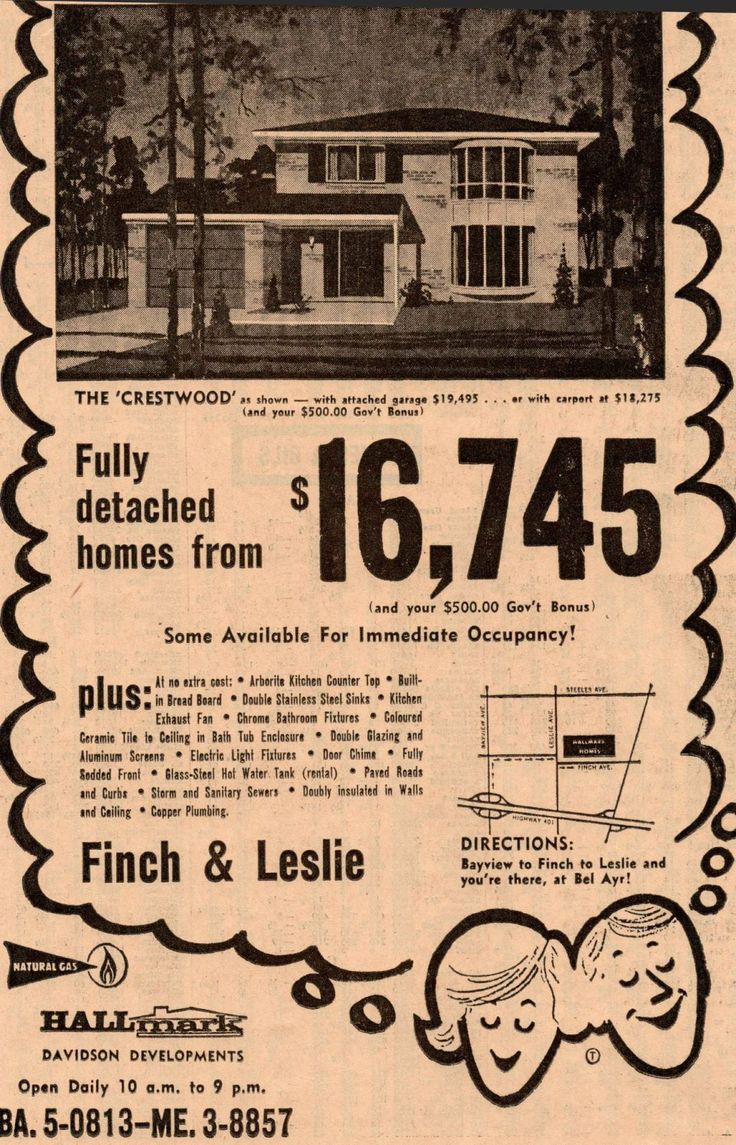 The price for Toronto real estate in 1963, newspaper ad, house, suburbs, retro