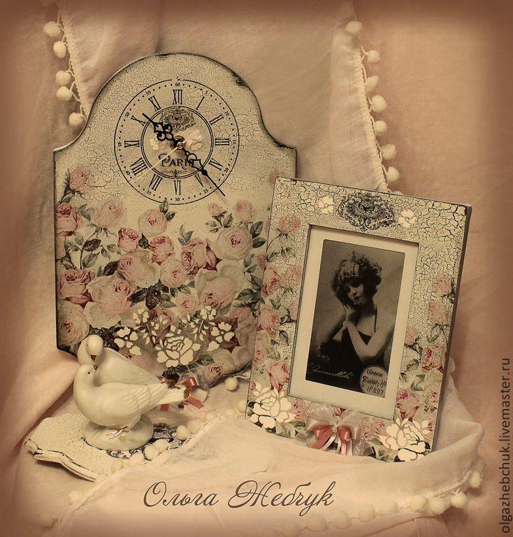 """Купить Комплект """"Цветы Парижа"""" - белый, вешалка для украшений, часы настенные, фоторамка, часы интерьерные"""