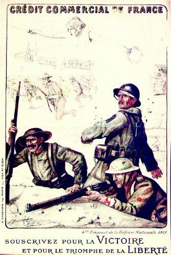 I tre alleati: un bersagliere italiano a sinistra, un fante francese al centro, un tommy inglese a destra. Sullo sfondo, quasi invisibili, ma sotto le ali della vittoria, avanzano i soldati americani