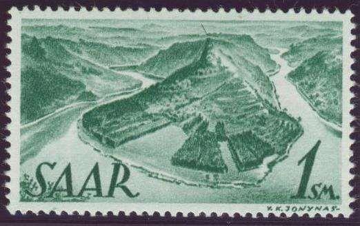 Germany, Saar, Saarland 1947, Saarschleife, 1 SM., Neuauflage, ohne Aufdruck, postfrisch Pracht (postfr., Mi.-Nr.238 II fA/Mi.EUR 140,--). Price Estimate (8/2016): 40 EUR.