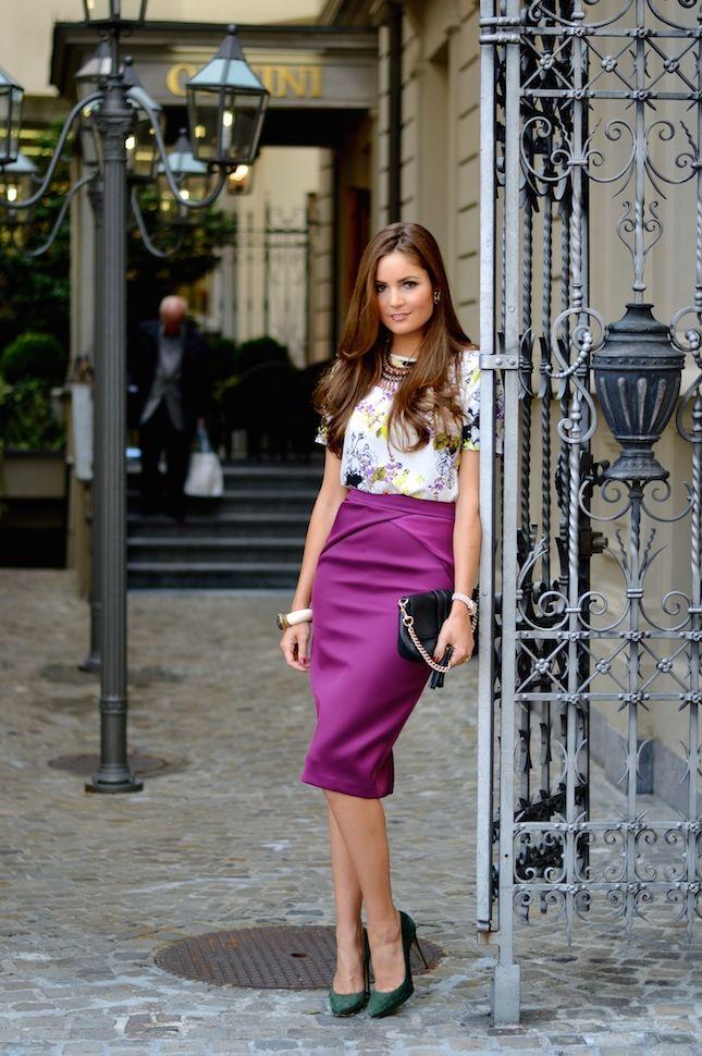 Sophisticated meets Flirty / by Stiletto meets Espresso / purple pencil skirt / Hair by Pedro Sanchez Zurich