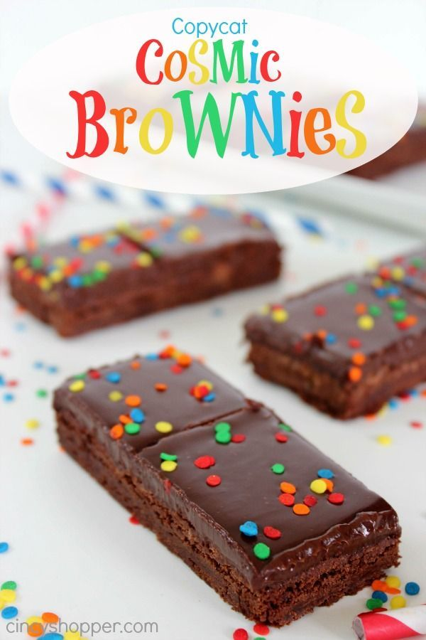Copycat Cosmic Brownies Recipe! Make your own Cosmic Brownies at home. Easy, super delish and a perfect dessert for Back to School lunches.