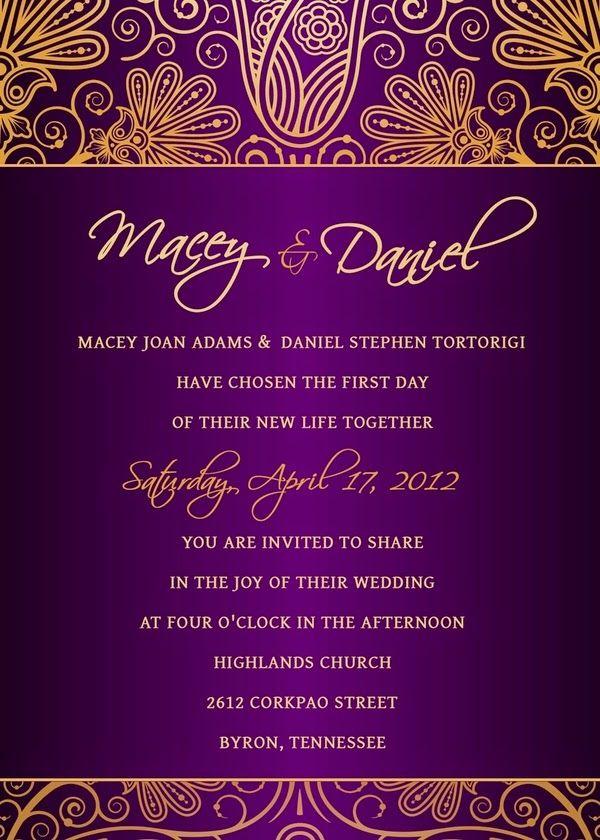 Purple and Gold Wedding Ideas | Wedding Invitation. http://simpleweddingstuff.blogspot.com/2014/05/purple-and-gold-wedding-ideas.html