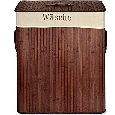 Wäschekorb in Bambusoptik eckig 70l Wäschebox Wäschetruhe Wäschesammler