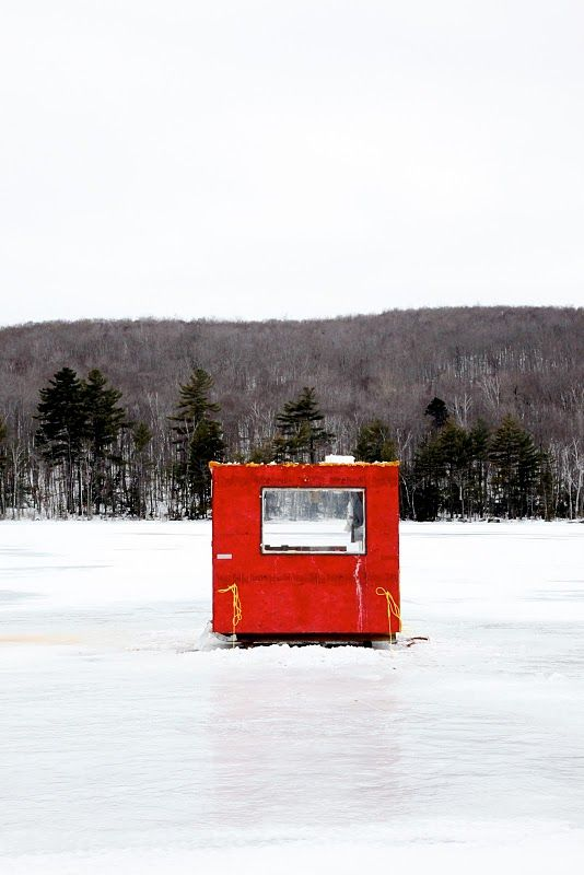 Ice fishing shack in Maine. Small and large, these unique ...