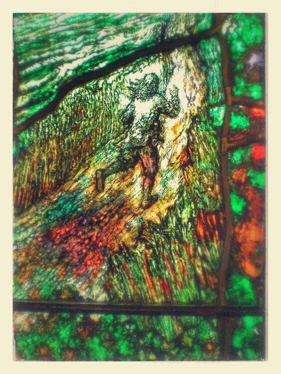One of the panels from Tom Denny's windows at Hereford Cathedral,  in commenoration of the poet, Clergymen and mystic, Thomas Trehearne