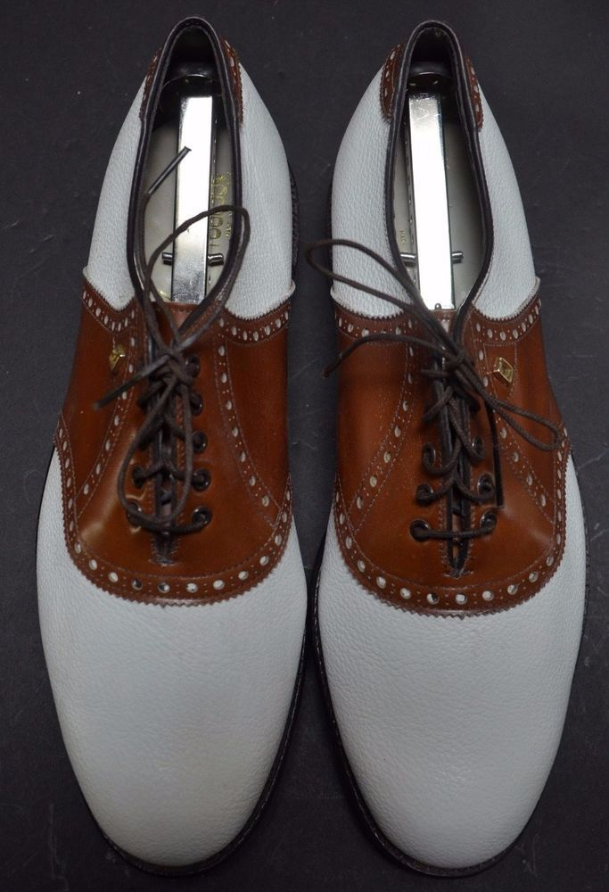 FOOTJOY CLASSICS White Brown Saddle Golf Shoes Mens 9.5D Made in USA VINTAGE #FootJoy
