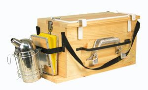"""Perfect box for keeping beekeeping tools organized, and an easy way to """"hold"""" a hot smoker."""