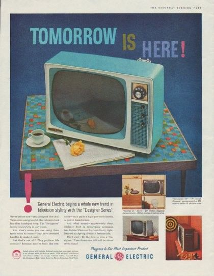 "1958 GENERAL ELECTRIC vintage print ad. ""Tomorrow Is Here!""""General Electric begins a whole new trend in television styling with the ""Designer Series"" ""Gramercy 17"" ""Barclay 21"""