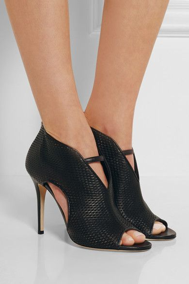Jimmy Choo | Tamali cutout leather and mesh boots | NET-A-PORTER.COM