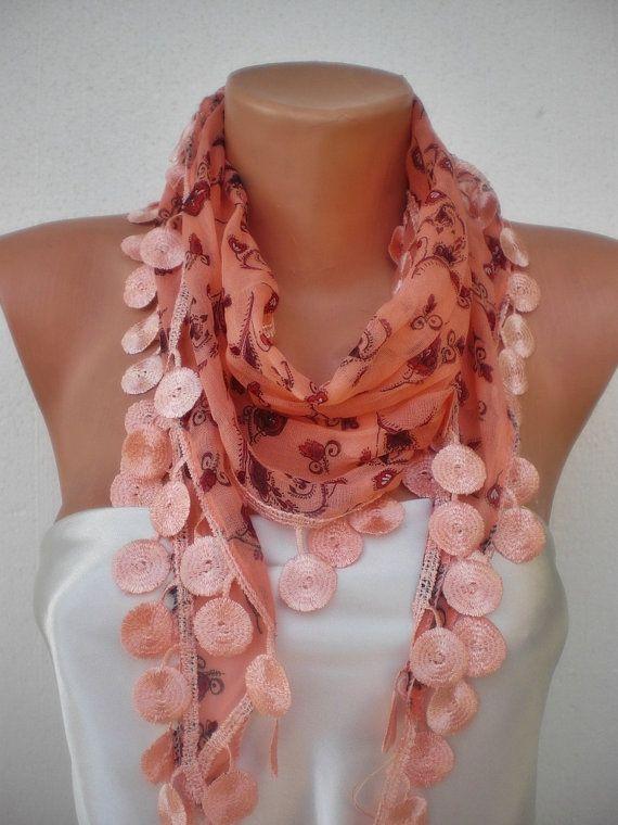 ,: Salmon Color, Cotton Scarfs, Doilies, Fashion Models, Pretty Scarves, Coralflow Cotton, Fashion Design, Coral Scarf, New Fashion