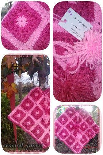 Poncho granny pink a crochet en lana desde Rn/adulto