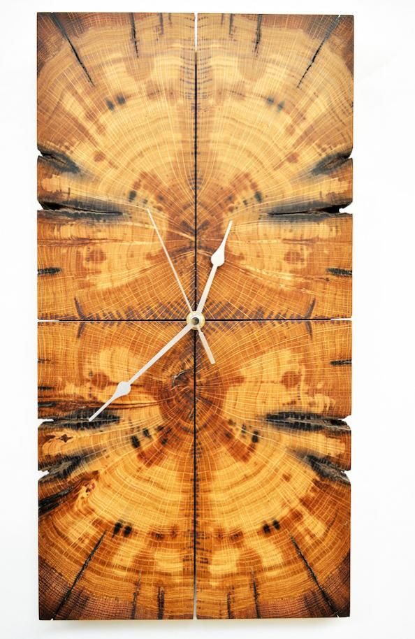 Wall clock made from 'book matched' reclaimed railway sleeper by Northumberland cabinetmaker Gary Wild, £50, www.tansu-me.co.uk or Folksy.com