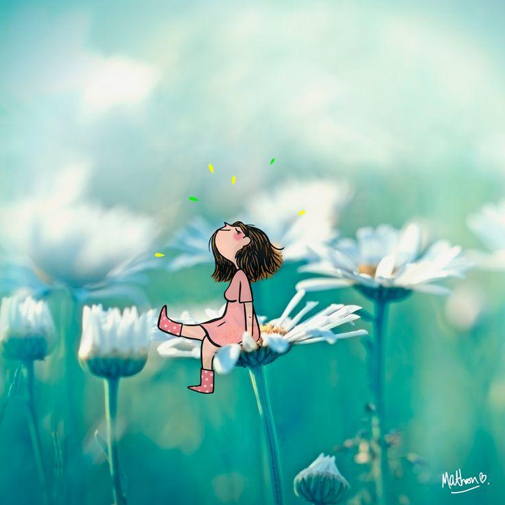 printemps, pâquerette, fille, sourire, bonheur, soleil, dessin