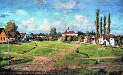 Holovousy (okres Jičín): Náves obce, 1904-1906 Autor: malíř pokojů Tázler