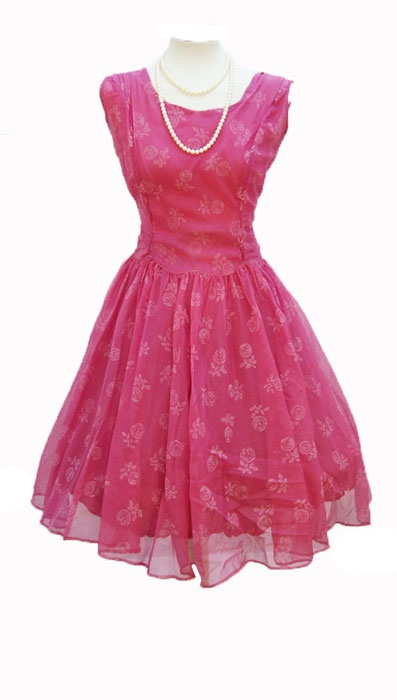 1950s Vintage Chiffon Prom Dress