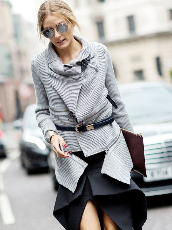 Olivia Palermo wears a belted sweater and aviators during London Fashion Week // Photo: The Styleograph #LFW #streetstyle