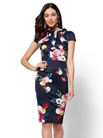 20eac1ea8b0 Shop Bow-Detail Floral Sheath Dress. Find your perfect size online at the best  price at New York   Company.