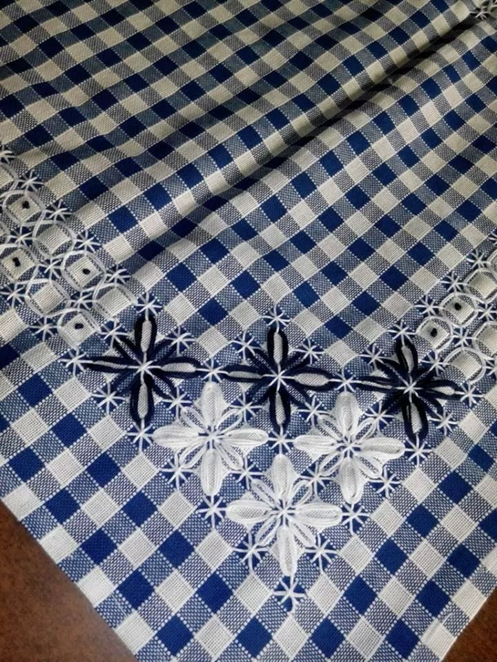 I love the embroidery on gingham that makes it look like lace. Suisse broderie is also referred to as chicken scratch in the US.