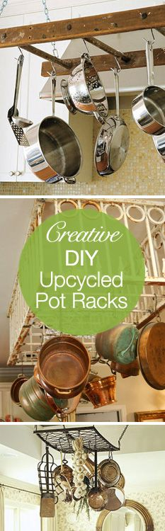 Creative DIY Upcycled Pot Rack Ideas! best ideas! I was thinking we would need to spend £££s on a pot rack, these are great!!!