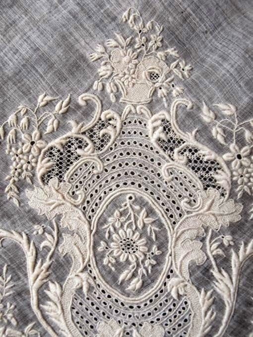 white with lace embroidery