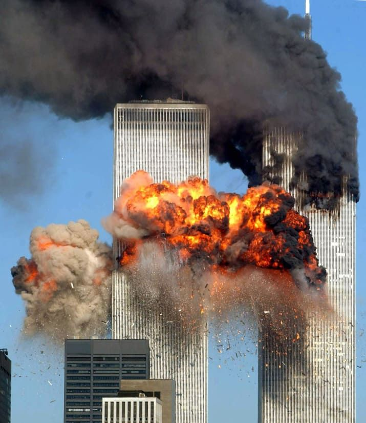 United Airlines Flight 175 from Boston crashes into the south tower of the World Trade Center and explodes at 9:03 a.m. in New York City. The crash of two airliners hijacked by terrorists loyal to al-Qaeda leader Osama bin Laden and subsequent collapse of the twin towers killed some 2,800 people that day.