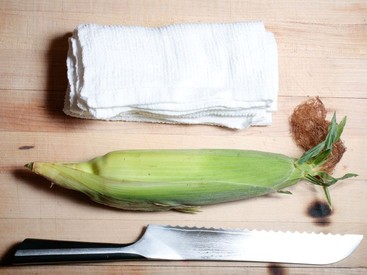 What You'll Need to Microwave Corn on the Cob : If you steam corn in a microwave, it will slide out well-cooked and completely clean of husk and silk. via Food Network