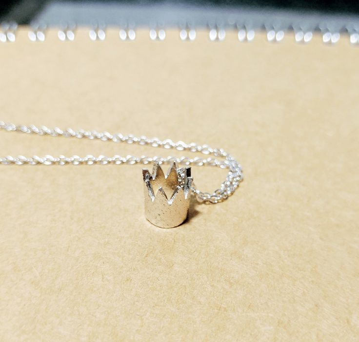 925 Sterling Silver Cute Crown necklace by ThoughtsAccessories on Etsy