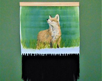 This tapestry painting featuring a fox and teal background is the perfect wall art to create a   beautifully eclectic, bohemian feel in any space whether it is modern or traditional. This art print is by the   art brand The Clay Moon by Memphis artist Samm Stafford.