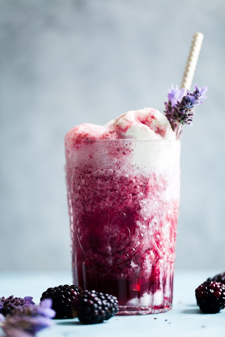 Lavender Earl Gray Blackberry Ice Cream Floats