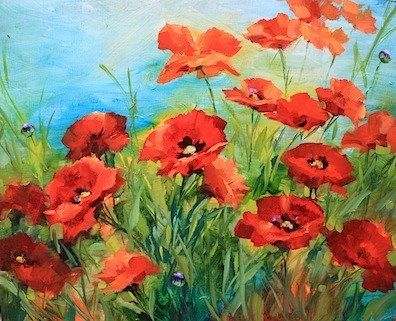 "Daily Paintworks - ""The Bells of Frayssinet and Sing to Me Poppies - Flower Paintings by Nancy Medina"" - Original Fine Art for Sale - © Nancy Medina"