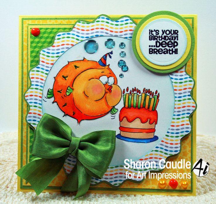 Art Impressions Zoo Crew Deep Breath Birthday (Sku#4471) Handmade fish with cake birthday card. It's your birthday... deep breath!