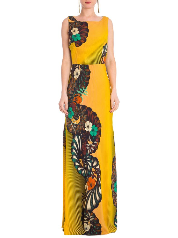 Vestido Flores Japan - Adriana Barra - Amarelo - Shop2gether