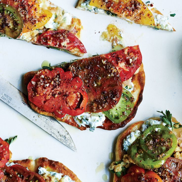 To make this tomato-on-bread revelation right this very minute, use a prepared flatbread like naan or pocketless pita.