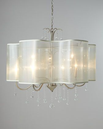 Quatrefoil 9 light shaded chandelier