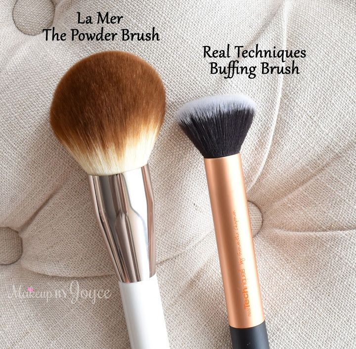 La Mer The Powder Brush ($80 and measures 7.5 inches long) – The bristles are made of synthetic material, feel very soft and have not shedded a single fiber. It's ideal for applying a quick, light dust of powder all over the face. It's even big enough as a body brush and is great for highlighting & bronzing the decollete. The Real Techniques Buffing brush (comes in a set for $17.99) is just pictured for size reference.