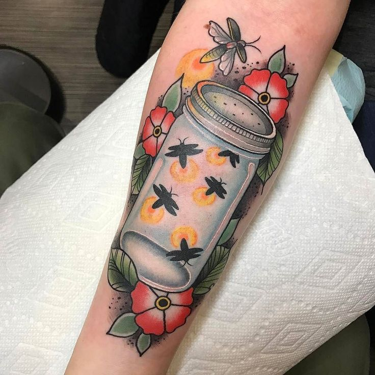 Firefly tattoo by @inkbear at Integrity Tattoo in Royersford PA #inkbear #kylebehr #integritytattoo #royersford #pennsylvania #firefly #fireflytattoo #fireflies #firefliestattoo #tattoo #tattoos #tattoosnob