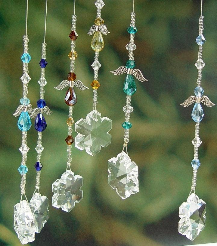 Snowflake Angel / Fairy Lightcatcher - Range of Colours - Made to Order - Suncatcher Light Catcher Sun Crystal Color Prism Rainbow Pollyanna. $12.50, via Etsy.