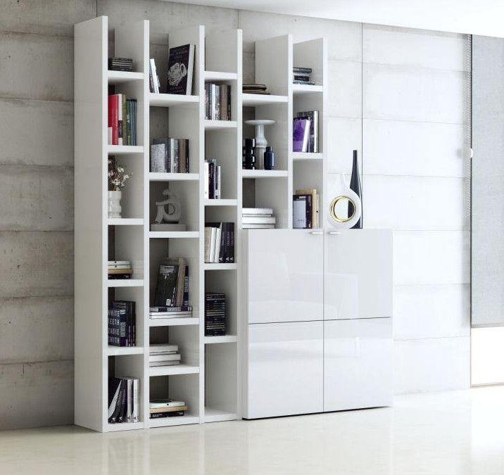 Bücherwand Bücherregal Weiß Hochglanz Lack Tara Regal